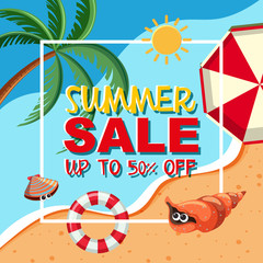 Summer sale template with ocean in background