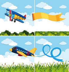 Scenes with airplanes flying in blue sky