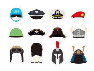 solder hat helmet set, vector illustration
