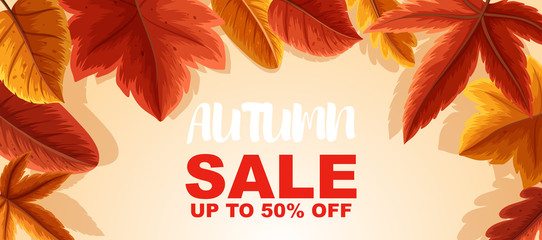 Autumn sale up to 50 percent poster design