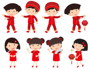 Chinese boys and girls in red outfit