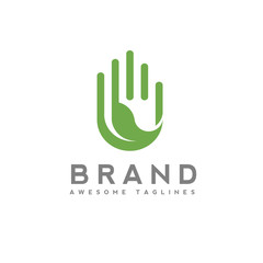 Green leaf in hand eco logo, green  ecology and environment protection concept. leaf and hand logo concept
