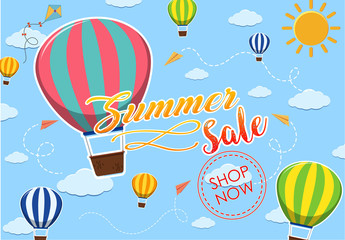 Summer sale poster design with balloons in the sky