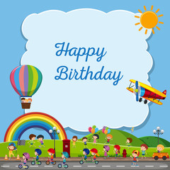 Birthday card template with kids in the park background