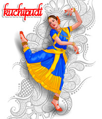 illustration of Indian Kuchipudi dance form