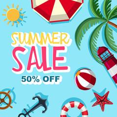 Summer sale 50 percent off poster design