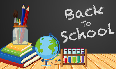 Back to school poster design with objects in classroom