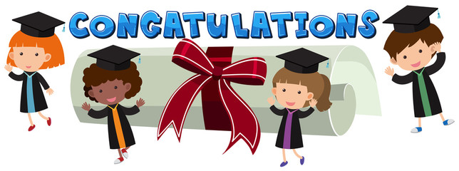 Congratulations theme with kids and degree
