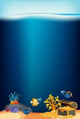Ocean background with coral and golden coins