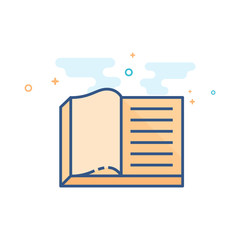 Books icon in outlined flat color style. Vector illustration.