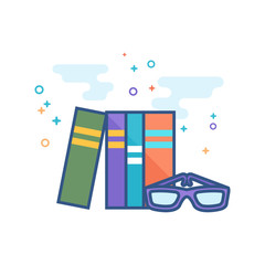 Books and glasses icon in outlined flat color style. Vector illustration.