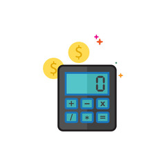 Calculator icon in outlined flat color style. Vector illustration.