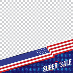 Happy Presidents Day of USA. Template banner design element with text and US flag