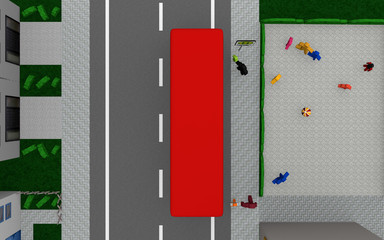 Street with bus, street sign Bus stop with German text, school bus on weekdays and schoolyard. View from above.