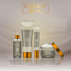 Vector 3D cosmetic illustration on a soft light waves background . Beauty realistic cosmetic product design template.
