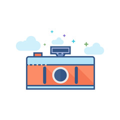 Panorama camera icon in outlined flat color style. Vector illustration.