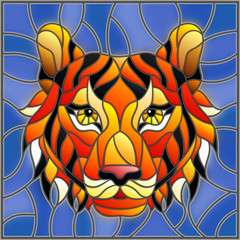 The illustration in stained glass style painting with a tiger head on a blue background , square image