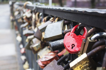 Padlock for love The closed red padlock with heart.