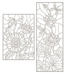 Set contour illustrations of stained glass with flowers, sunflowers and Lotus flowers with dragonflies , dark outline on a white background