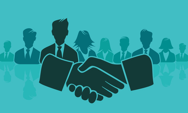 Shake hands concept illustration with handshake and avatar silhouettes. Flat design and punchy pastel colors