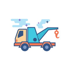 Tow icon in outlined flat color style. Vector illustration.