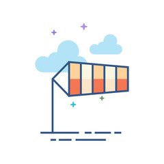 Windsock icon in outlined flat color style. Vector illustration.