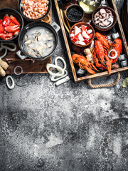 Wall Mural - Different fresh seafood.