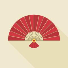 Chinese folding handheld fan, flat design