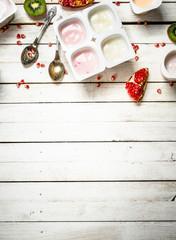Various fruit yoghurts.