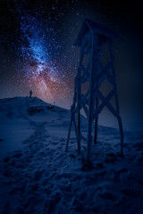 Man looking to milky way in the mountain in winter
