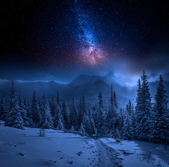 Fototapete - Tatras Mountains in winter at night and stars, Poland