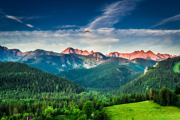 Wall Murals Mountains Sunset in mountains in Poland in summer, Europe