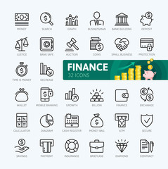Money, finance, payments elements - minimal thin line web icon set. Outline icons collection. Simple vector illustration.