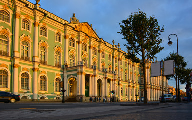 Winter Palace in Saint Petersburg, Russia, at the sunset
