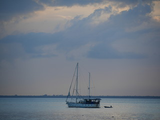 Island in the Indian Ocean, boat in the ocean