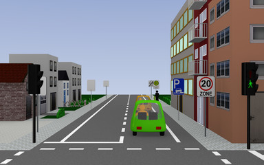Hauptstraße mit den Schildern Zone 20, Parken auf dem Gehweg erlaubt, Schulbushaltestelle mit deutschem Text: Schullbus Werktags und Ende Zone 20. 3d render