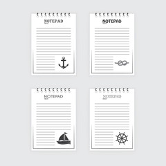 Template for notepad. Objects on the marine theme. Drawn elements.