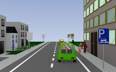 Schulstraße mit den Schildern, Parken auf dem Gehweg erlaubt, Schulbushaltestelle mit deutschem Text: Schullbus Werktags und Ende Zone 20. 3d render