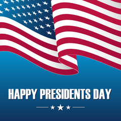 Happy Presidents Day celebration card with waving USA national flag on blue background. Vector illustration.