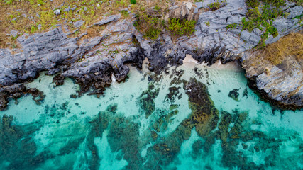 Beach with rock beautiful island on top view, seascape photography by drone.