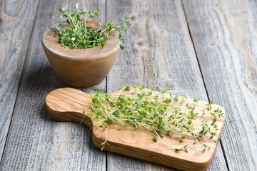 Fresh thyme on the wood