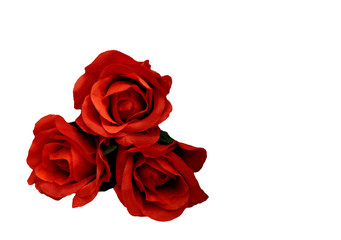 Red roses, bouquet of artifical flowers