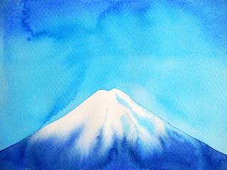 fuji mountain fujisan and blue sky watercolor painting illustration design hand drawn