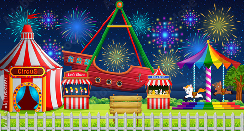 Amusement park scene with circus tent and firework & Amusement park scene with circus tent and firework