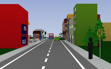 Straße mit roter Ampel und den Schildern,Haltestelle, Schulbushaltestelle mit deutschem Text: Schullbus Werktags, parekn auf dem Gehweg erlaubt, und Ende Zone 20.