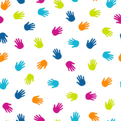 Hand prints colorful seamless patern. Vector background.