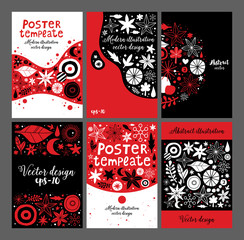 Set of creative templates with flowers and abstract hand drawn elements. Useful for advertising, graphic design, invitations, cards and posters.