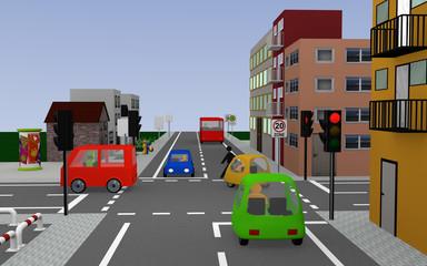Straße mit roter Ampel und den Schildern, Schulbushaltestelle mit deutschem Text: Schullbus Werktags, Zone 20 und Ende Zone 20. 3d render