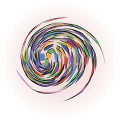 A twisted barbed multicolored ball.
