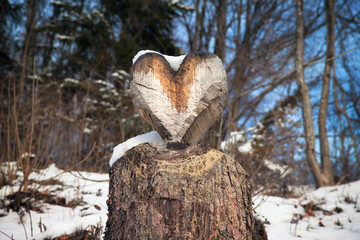 wooden heart in woodland, love concept with snow